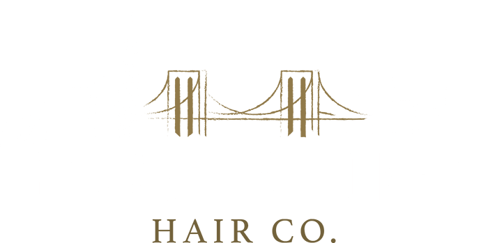 Samantha Jones Hair Co Main Website Logo White and Gold Bridge