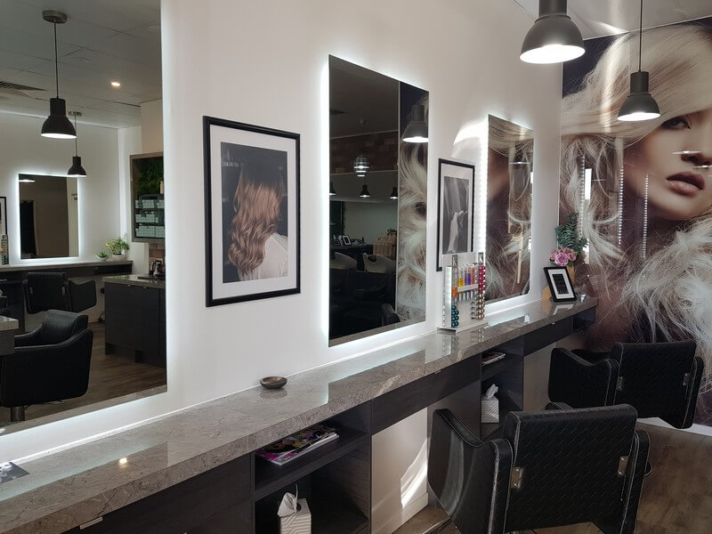 Samantha Jones Hair Co Our Salon Gallery - Comfortable and Well-Lighted Salon Closeup to Mirrors and Countertops